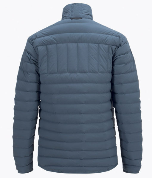 Mens Stretch Peak Ski Down Jacket Blue Back