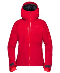Norrona womens insulated ski jacket Lofoten red