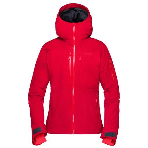 Norrona womens insulated ski jacket Lofoten red